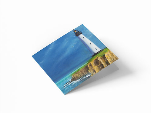 """Majestic Lighthouse 6"""" x 6"""" Square Greetings Card"""