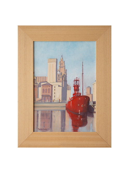 """Bar Light Vessel """"Planet"""" in Canning Dock, Liverpool Original Oil Painting"""