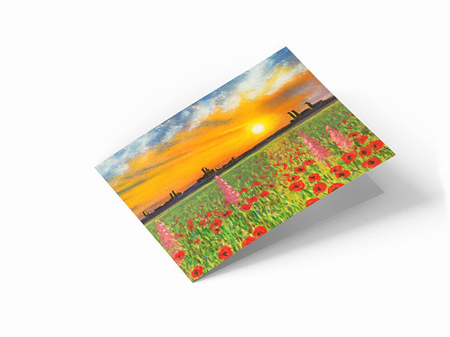"Flower Meadow at Sunset 7"" x 5"" Landscape Greetings Card"