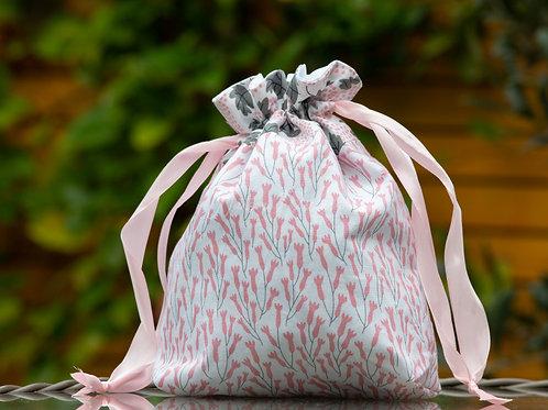 Pink & Grey Floral Design Handmade Drawstring Bag