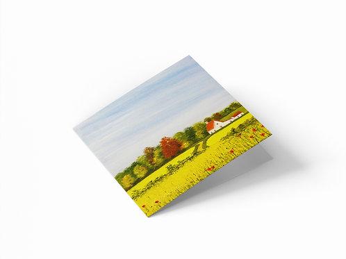 "Rape Fields 6"" x 6"" Square Greetings Card"