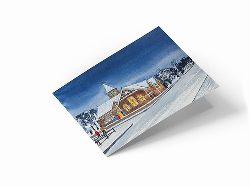 "Snowy High Legh Village Hall, Cheshire 7"" x 5"" Landscape Greetings Card"