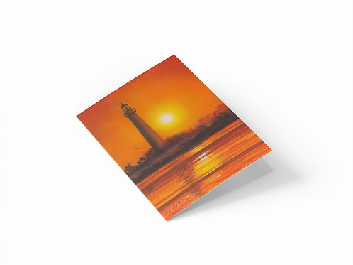 """Cape May Lighthouse at Sunset 7"""" x 5"""" Landscape Greetings Card"""