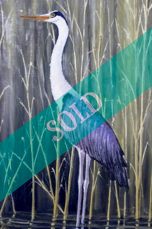 Common Heron Original Oil Painting