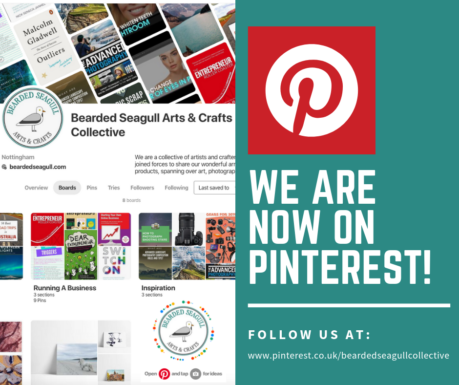 Pinterest poster advertising Bearded Seagull Arts & Crafts Collective's profile page alongside the Pinterest logo.