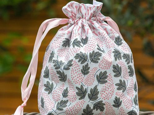 Pink & Grey Leaf Design Handmade Drawstring Bag