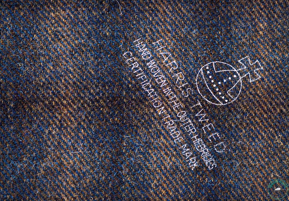 Harris Tweed stamped with the certification orb trademark