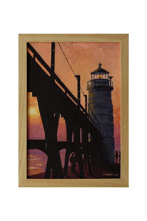 Lighthouse Lake, Michigan, USA Original Oil Painting