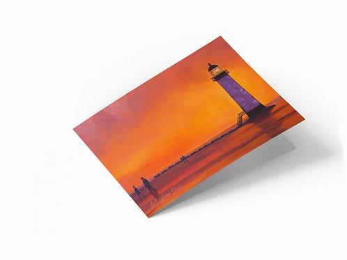 "Point of Ayr Sunset, Talacre Beach 7"" x 5"" Landscape Greetings Card"