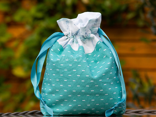 Aqua Nautical Handmade Drawstring Bag