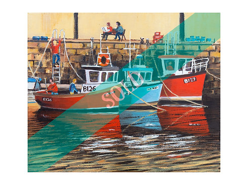 Fishing Boats Original Oil Painting