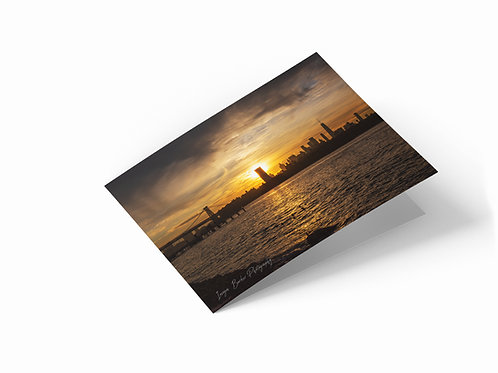 "Brooklyn Bridge Sunset 7"" x 5"" Landscape Greetings Card"