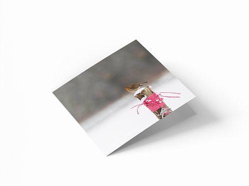 "Snowy Robin 6""x 6"" Square Greetings Card"