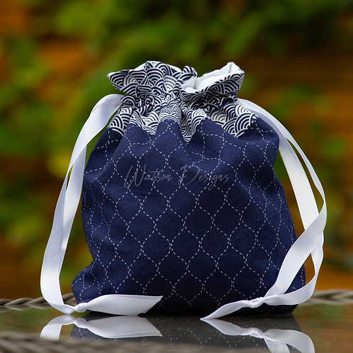 Navy & White Handmade Drawstring Bag