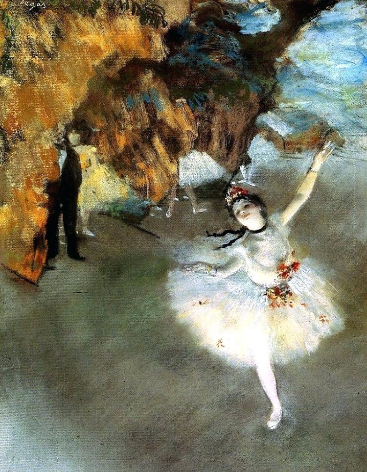 An oil  painting by Edgar Degas depicting a ballerina mid dance, with her arms raised and on point