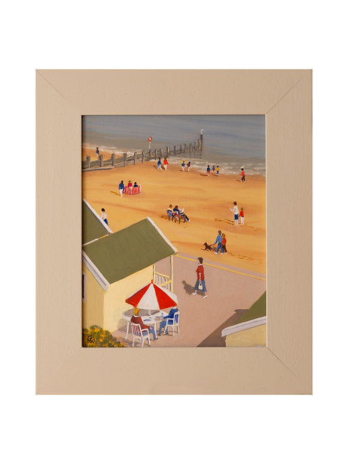 Beach Huts, Southwold, England Original Oil Painting