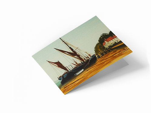 "Low Tide at Pin Mill, Suffolk 7"" x 5"" Landscape Greetings Card"