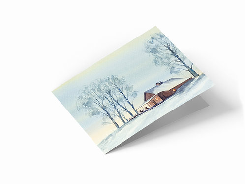 "Winter Retreat 7"" x 5"" Landscape Greetings Card"