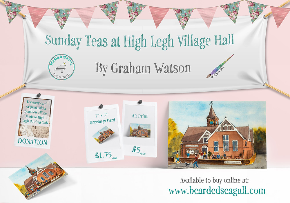 Promotional poster advertising greetings cards and prints of a watercolour painting of High Legh Village Hall