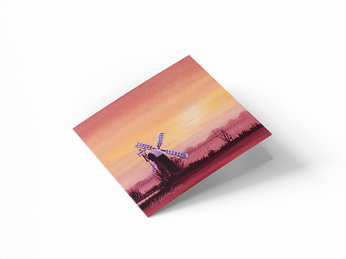 "Sunrise Windmill 6"" x 6"" Square Greetings Card"