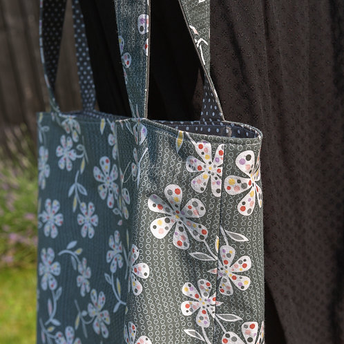 Grey Floral Patterned Handmade Reversible Tote Bag