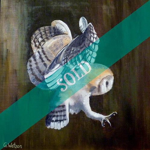 Barn Owl in Flight Original Oil Painting