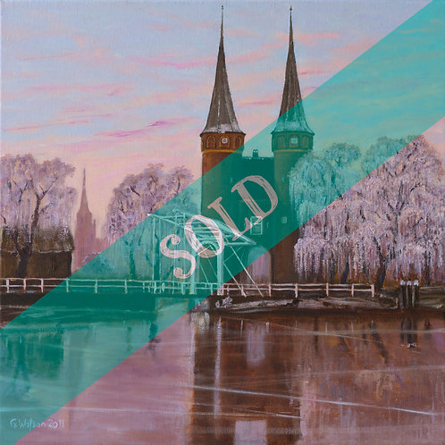 Oostpoort, Delft, Netherlands, Original Oil Painting