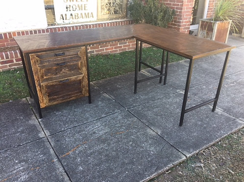 Metal Frame Reclaimed Wood Desk