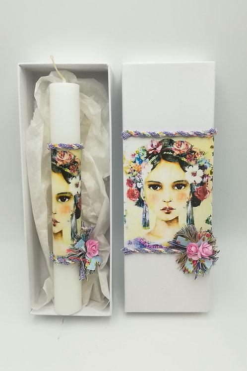 Λαμπάδα με χοντρό κερί Λευκό και ντεκουπάζ με συσκευασία κουτιού Frida B