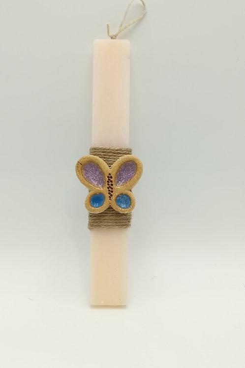Λαμπάδα πλακέ μικρή με κεραμική πεταλούδα