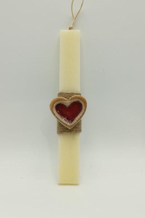 Λαμπάδα πλακέ μικρή με κεραμική καρδούλα