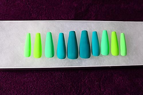 Matte Green Coffin Press-On Nails
