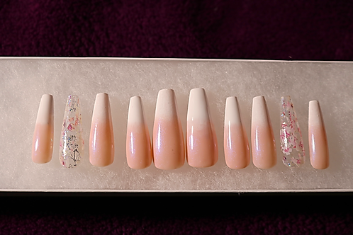 Ombré Classic French Tip Coffin Press-On Nail