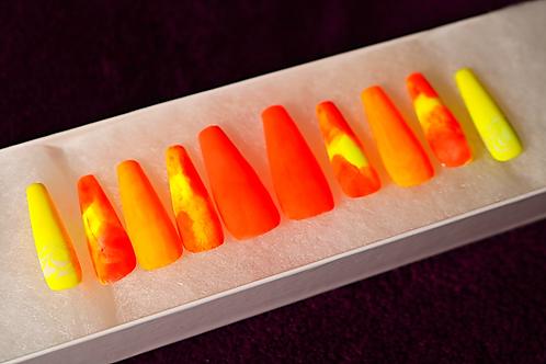 Neon Orange Matte Coffin Press-On Nails | Size: M