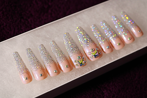 Glitter Ombré French Tip Coffin Press-On Nails