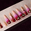 Thumbnail: Red-Purple Ombré Gold Decal Coffin Press-On Nails