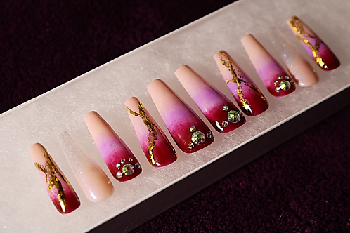 Red-Purple Ombré Gold Decal Coffin Press-On Nails