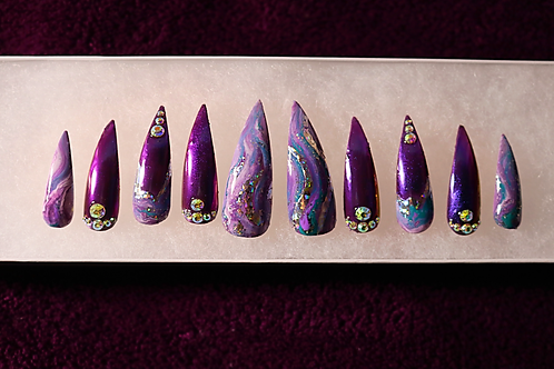 Purple Marble Stiletto Press-on Nails