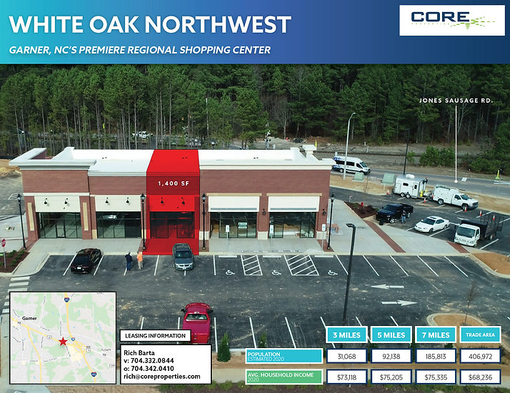 1,400 SF Shop Space - White Oak NW Shopping Center - Garner, NC