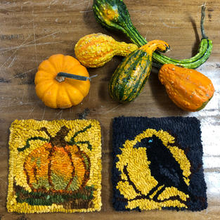 "6"" trivet -pumpkin or raven design $25"