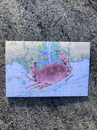 Red Crab & Nautical Chart notecard