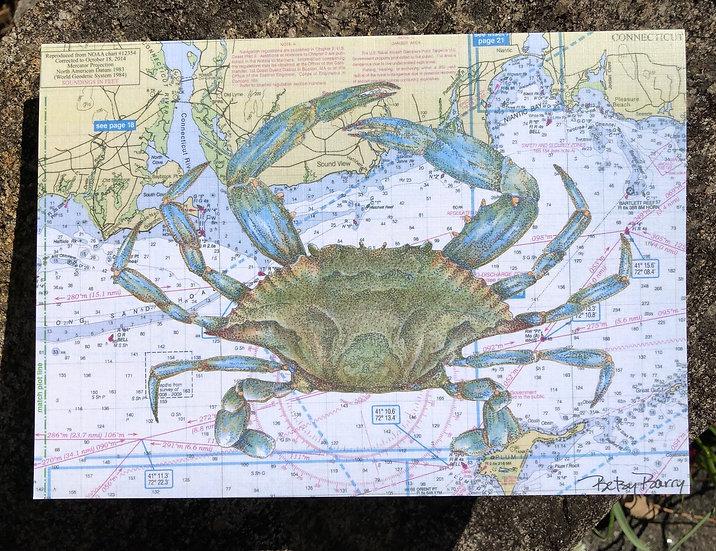 Blue Crab & Chart notecard