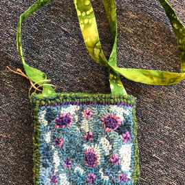 Crossbody pouch with fabric strap $150