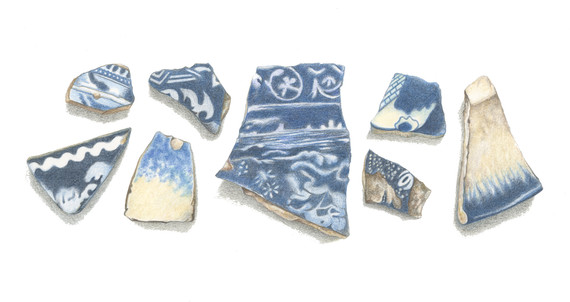 Blue Pottery Pieces