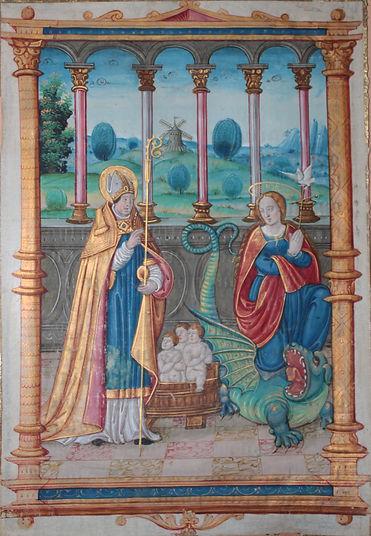 St Nicolas ste Marthe, la tarrasque, enluminure Etienne Collault vers 1520