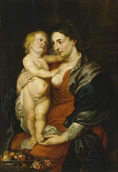 Adriaenssen et atelier de Rubens, Madonne et nature morte, huile sur panneau