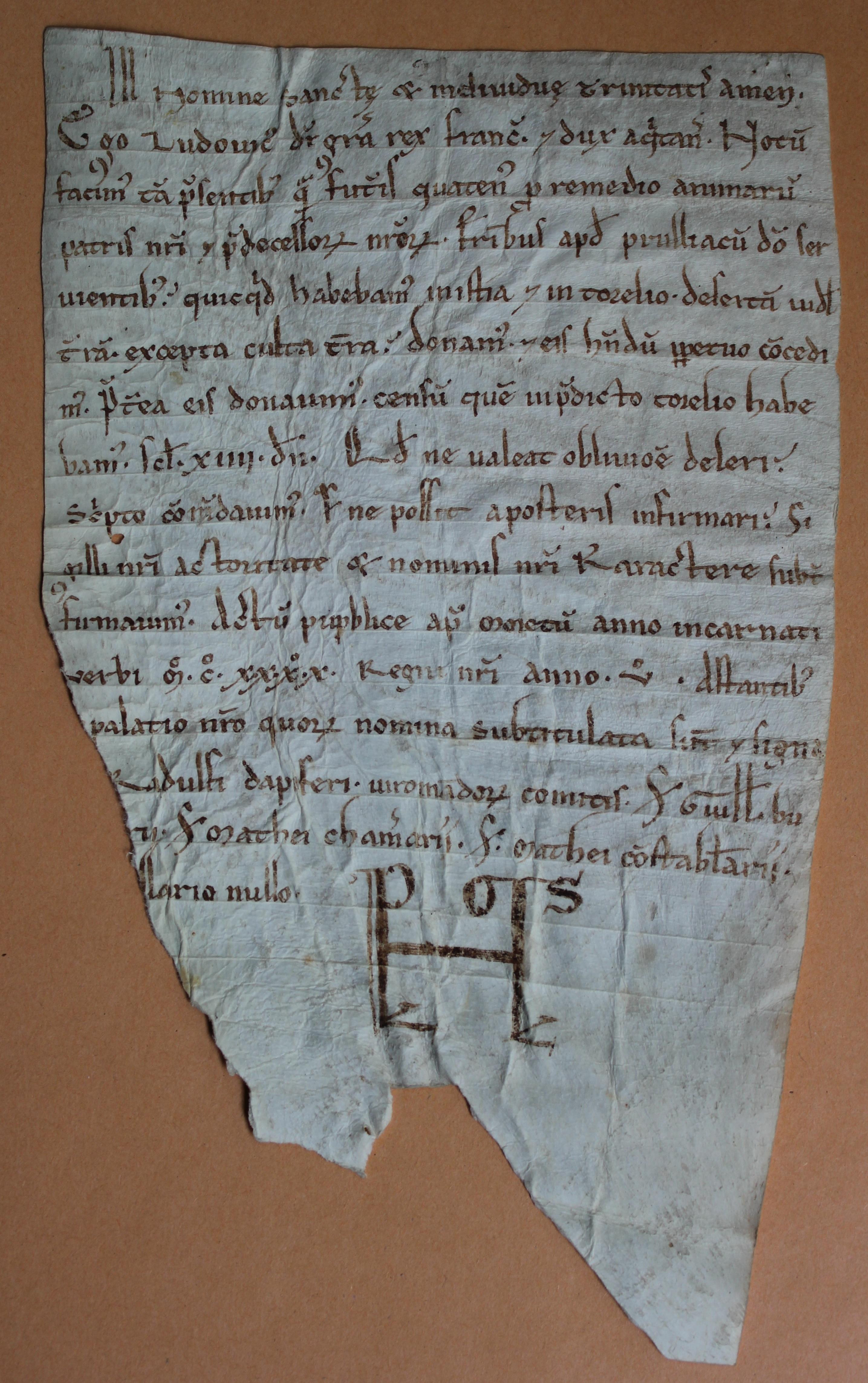 Charte de Louis VII pour l'abbaye de Preuilly 1140