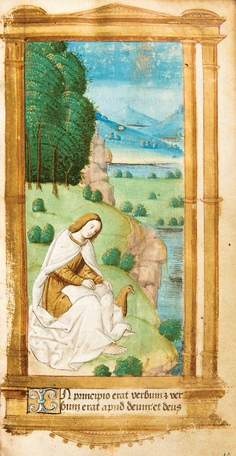 enluminure maître des heures Ango, livre d'heures manuscrit, miniature Saint Jean Patmos