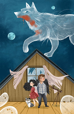 Middle grade fantasy characters in spooky haunted house with ghosts