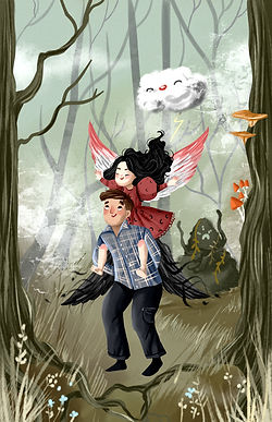 Middle grade fantasy characters in spooky swamp with monster